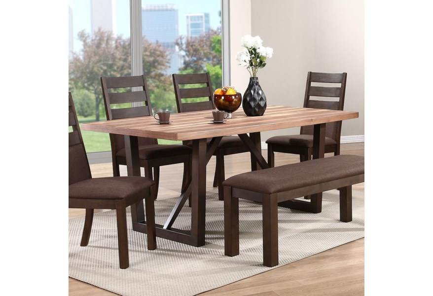 Winners Only Venice 1311898 Two Tone Rectangular Trestle Table Dunk Bright Furniture Dining Tables