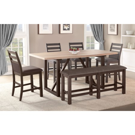 6 Pc Counter Height Dining Set with Bench