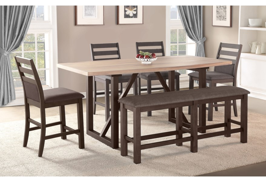 Winners Only Venice Contemporary 6 Pc Counter Height Dining Set With Bench Lindy S Furniture Company Table Chair Set With Bench