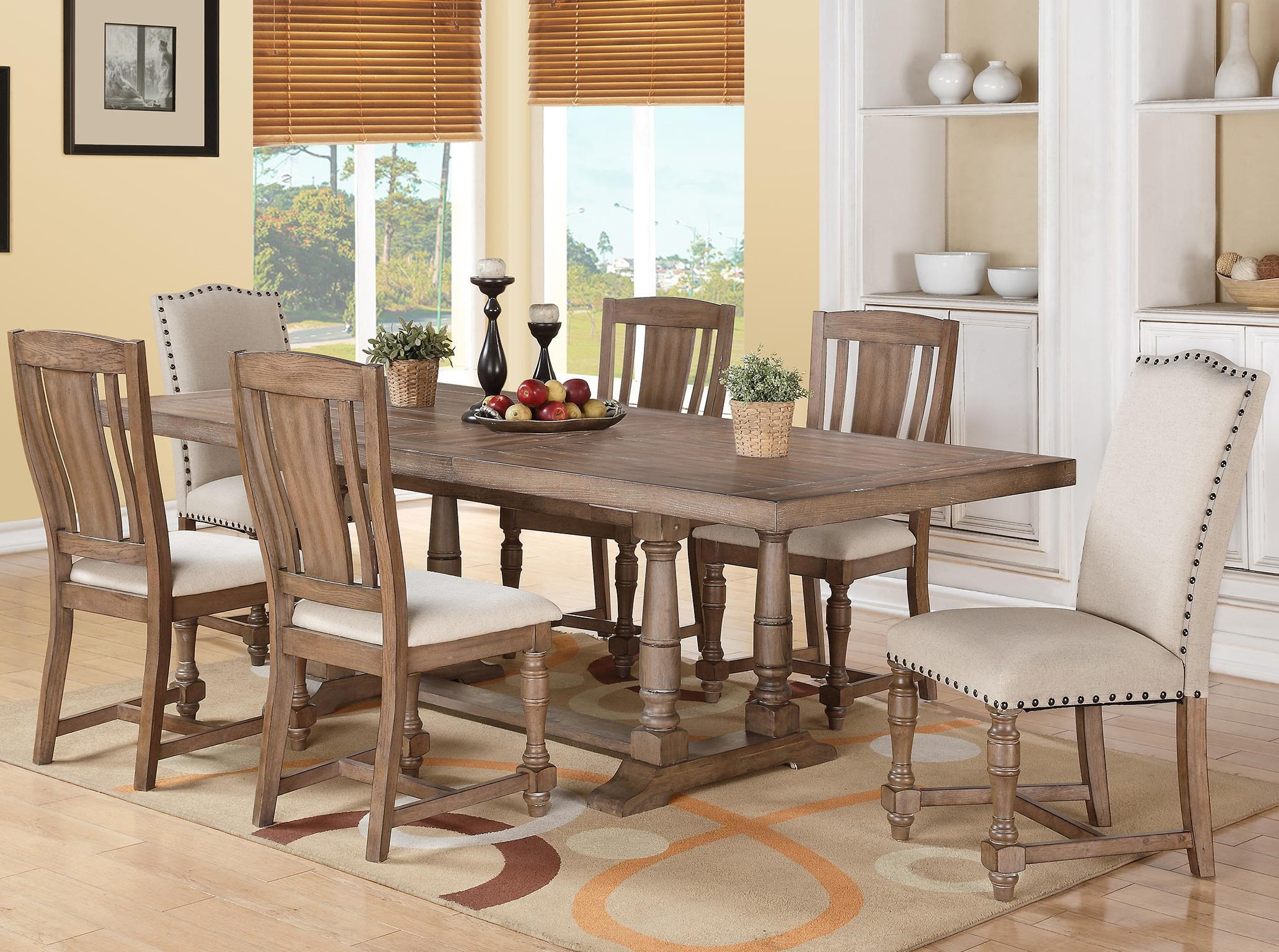 winners only xcalibur 7 piece trestle table and upholstered chair set dunk u0026 bright furniture dining 7 or more piece set