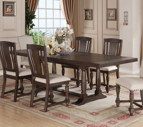 Winners Only Xcalibur Rectangular Dining Table With Turned Trestle Base And Limed Finish
