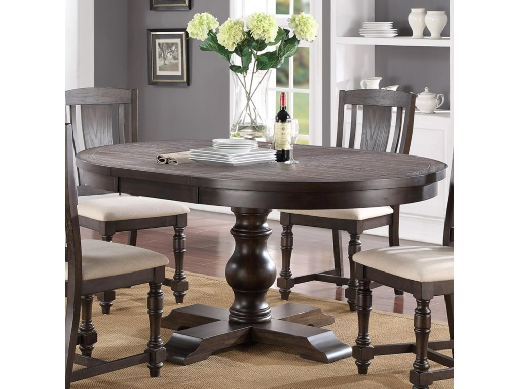 """Winners Only Xcalibur Round Pedestal Table with 5"""" Leaf"""