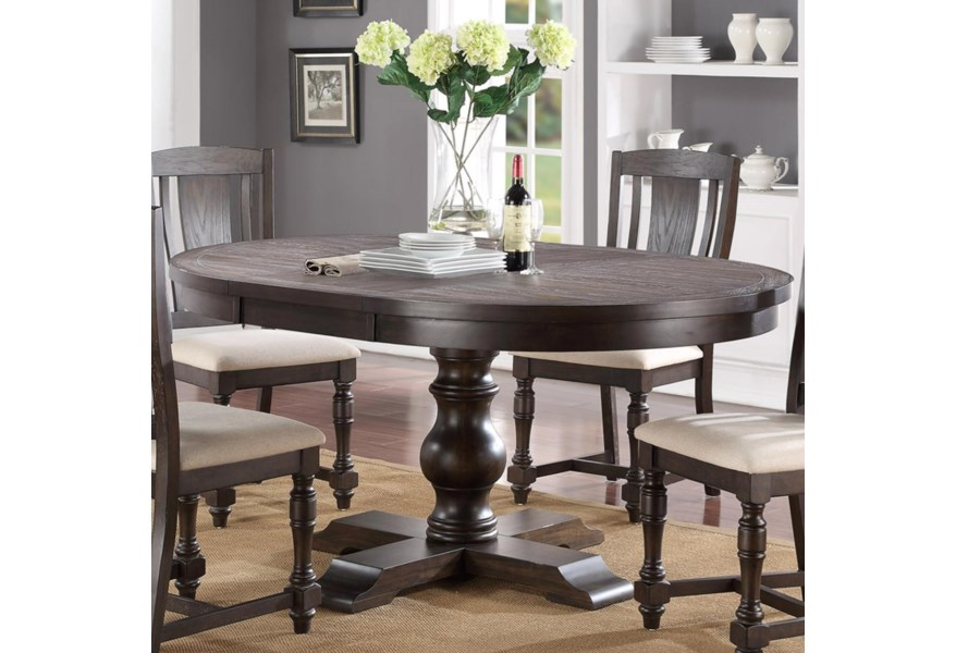 Winners Only Xcalibur Round Pedestal Table With 18 Leaf Lindy S Furniture Company Dining Tables