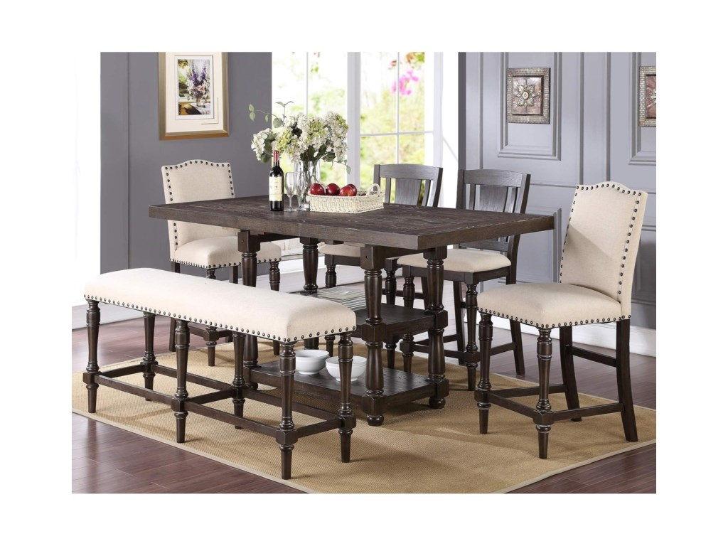 Winners Only Xcalibur Counter Height Dining Set with Upholstered ...