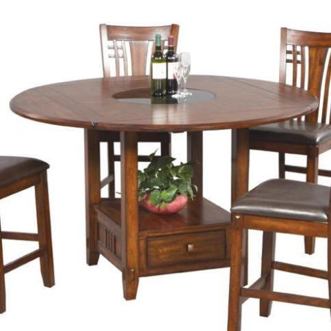 Zahara round pub table w round granite lazy susan for Furniture 0 percent financing