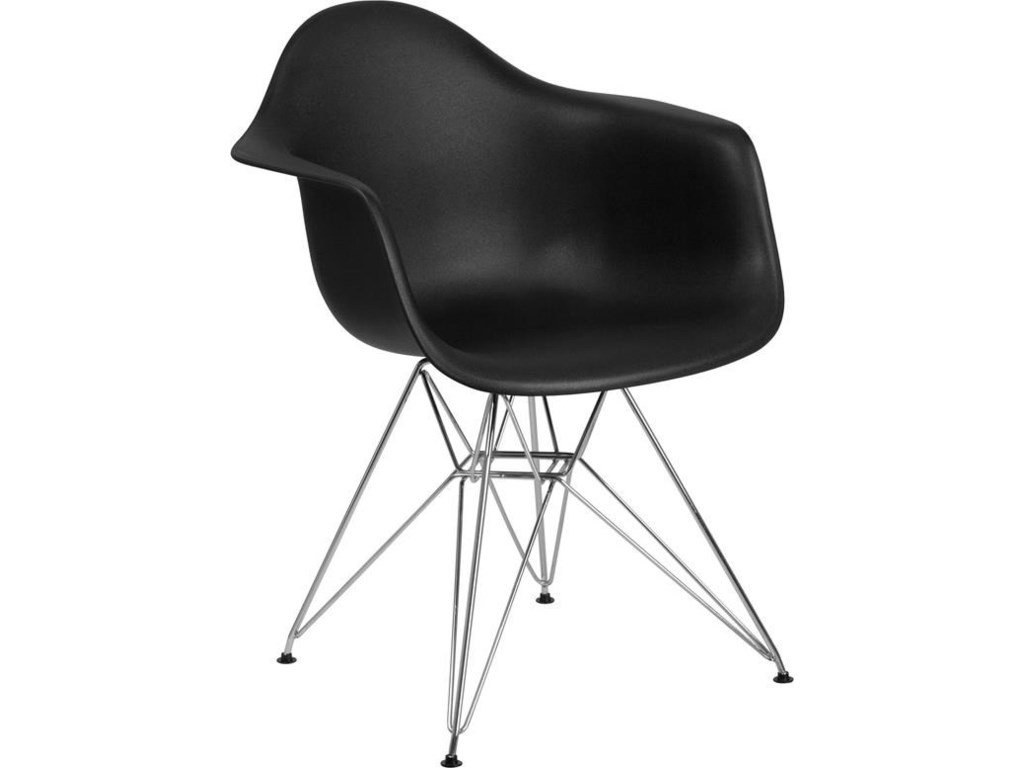 Winslow Home Alonza Arm ChairsBlack Plastic Arm Chair with Chrome Base