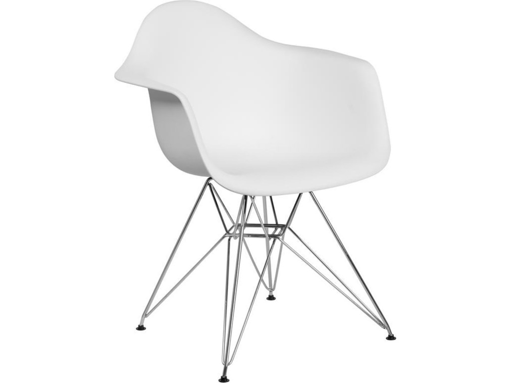 Winslow Home Alonza Arm ChairsWhite Plastic Arm Chair with Chrome Base