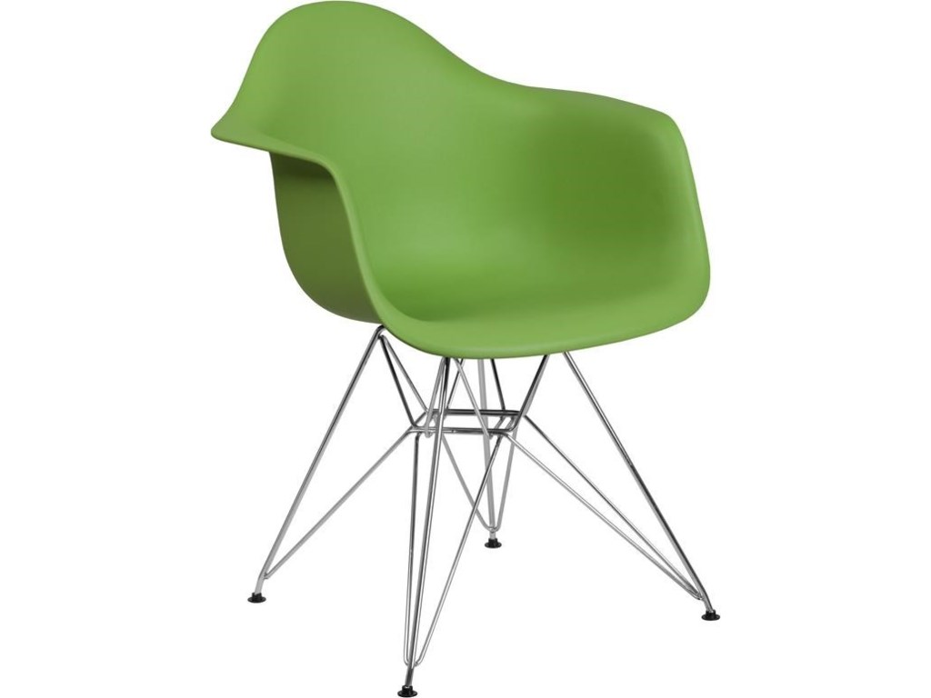 Winslow Home Alonza Arm ChairsGreen Plastic Arm Chair with Chrome Base
