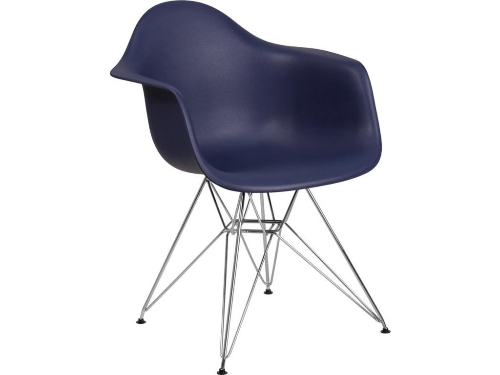 Winslow Home Alonza Arm ChairsNavy Plastic Arm Chair with Chrome Base