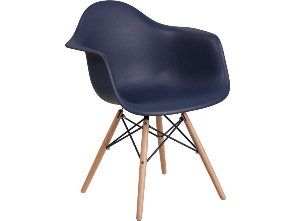 Winslow Home Alonza Arm ChairsNavy Plastic Arm Chair with Wooden Base