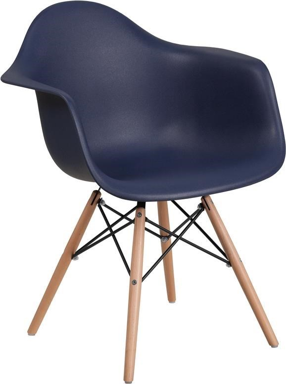 Winslow Home Alonza Arm Chairs Navy Plastic Arm Chair With Wooden Base