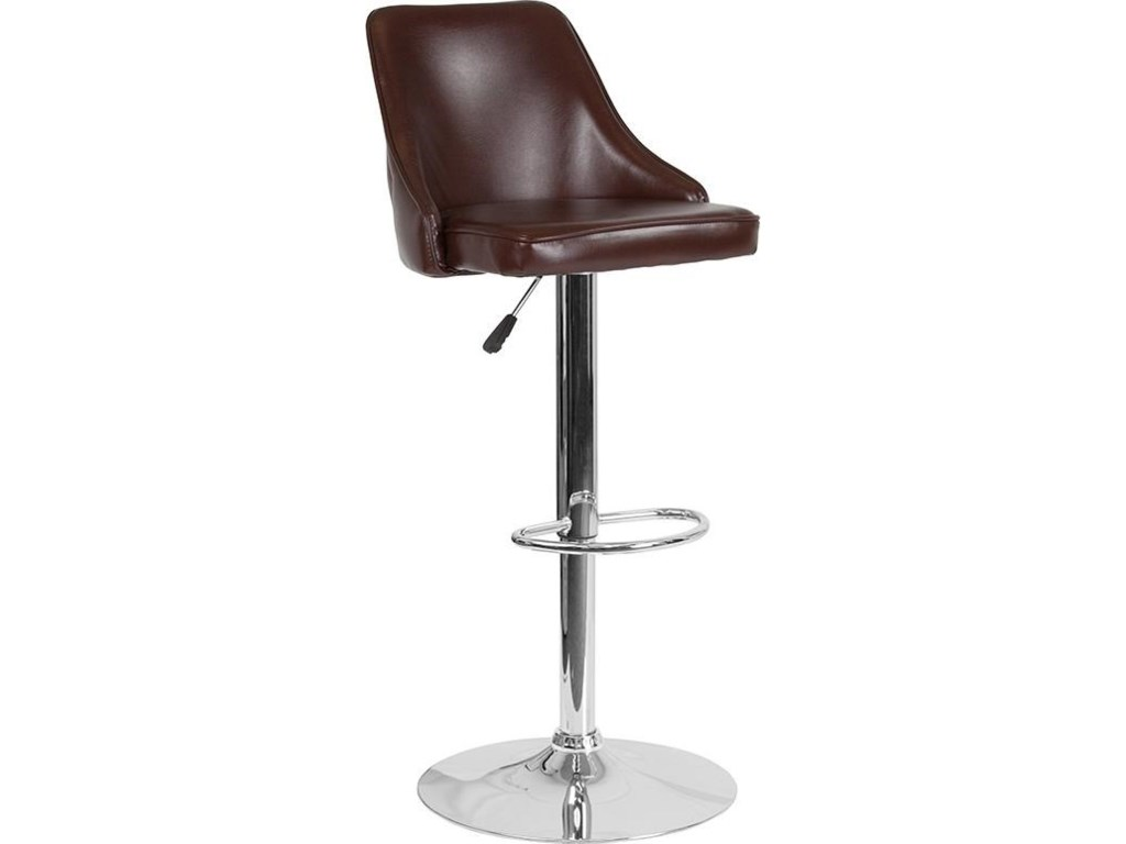 Winslow Home BarstoolsAdjustable Height Barstool in Brown Leather