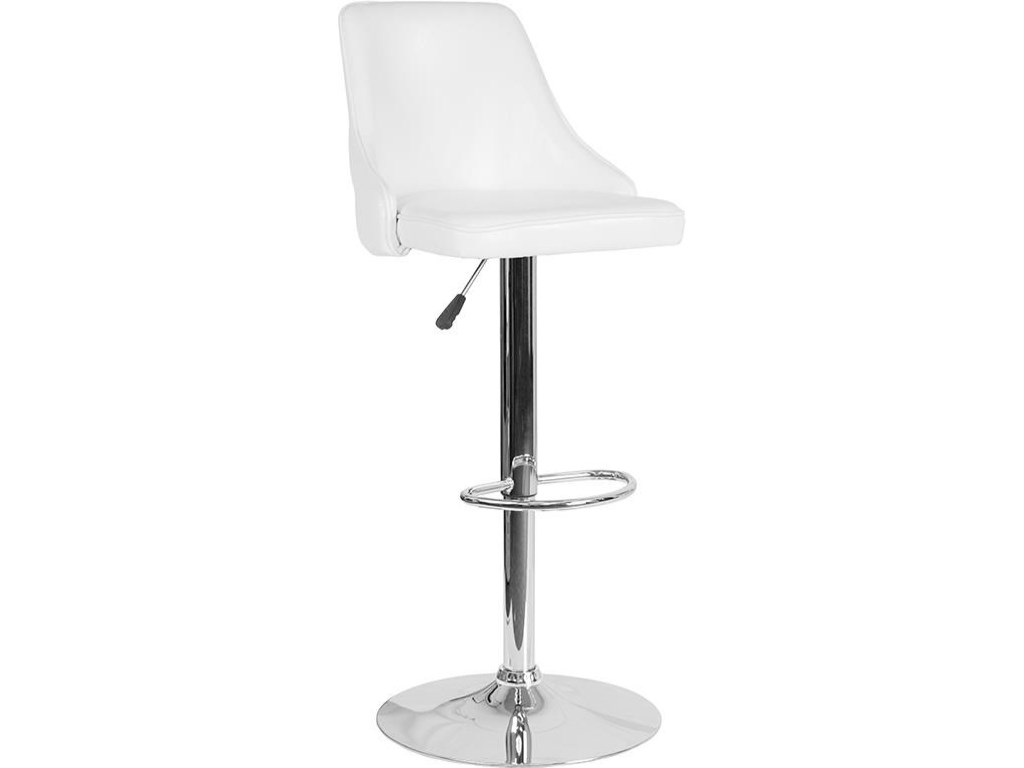Winslow Home Barstools Win 5830 Contemporary Adjustable Height Barstool In White Leather Sam Levitz Furniture Bar Stools
