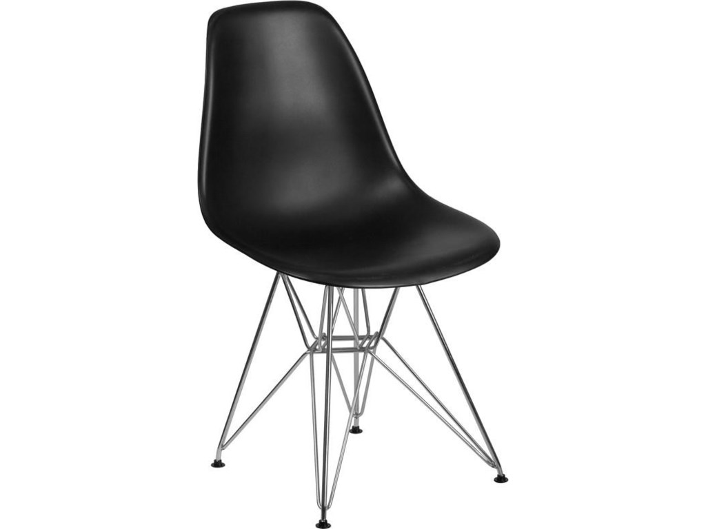 Winslow Home Elon Side Chair SeriesBlack Plastic Chair with Chrome Base