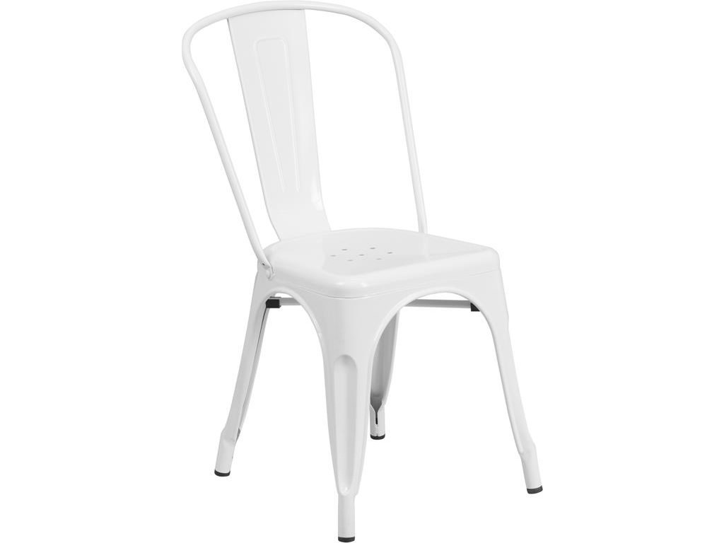 Winslow Home Metal Indoor-Outdoor ChairsWhite Metal Indoor-Outdoor Stackable Chair