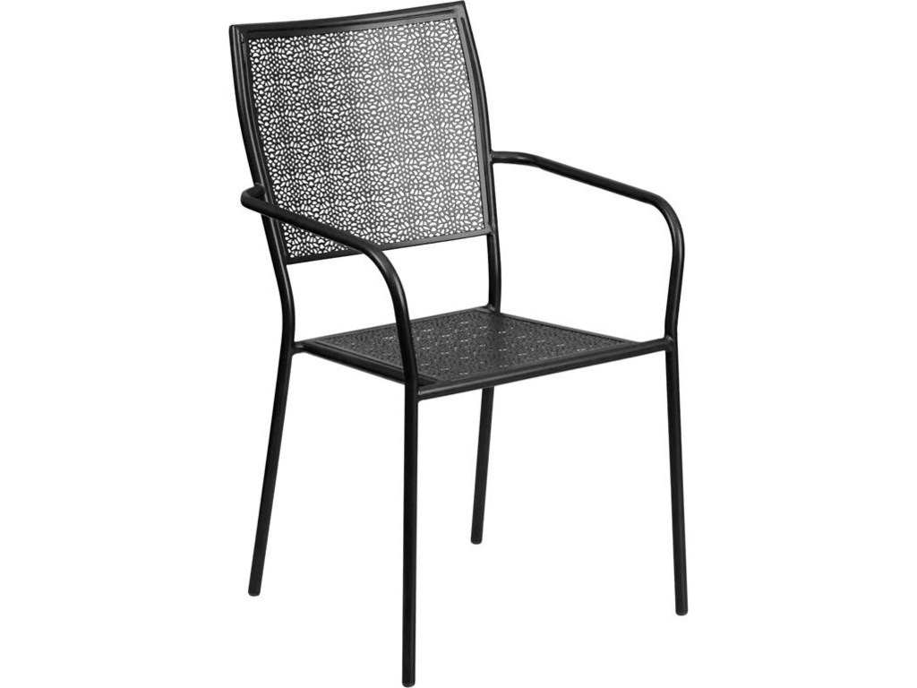 Winslow Home Metal Indoor-Outdoor ChairsBlack Indoor-Outdoor Steel Patio Arm Chair w