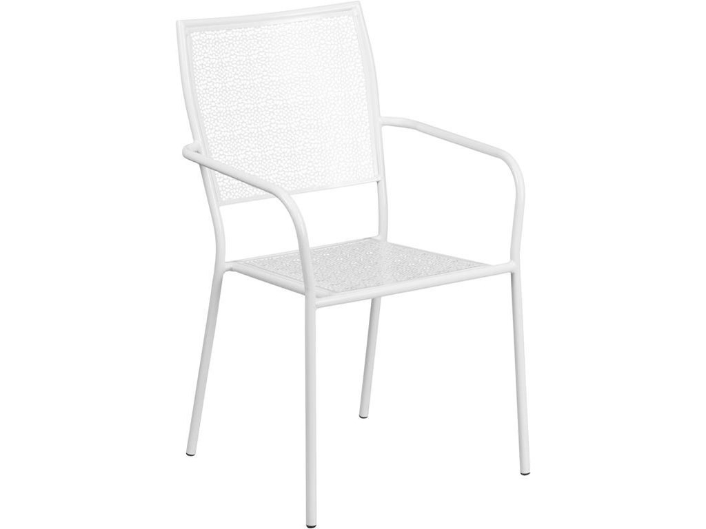 Winslow Home Metal Indoor-Outdoor ChairsWhite Indoor-Outdoor Steel Patio Arm Chair w