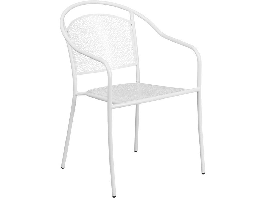 Winslow Home Metal Indoor Outdoor Chairs White Steel Patio Arm Chair With Round Back