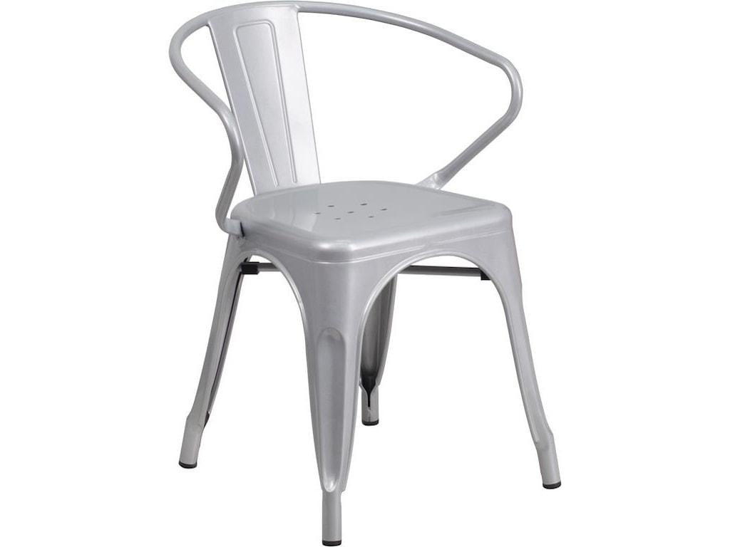 Winslow Home Metal Indoor-Outdoor ChairsSilver Metal Indoor-Outdoor Stackable Arm Ch