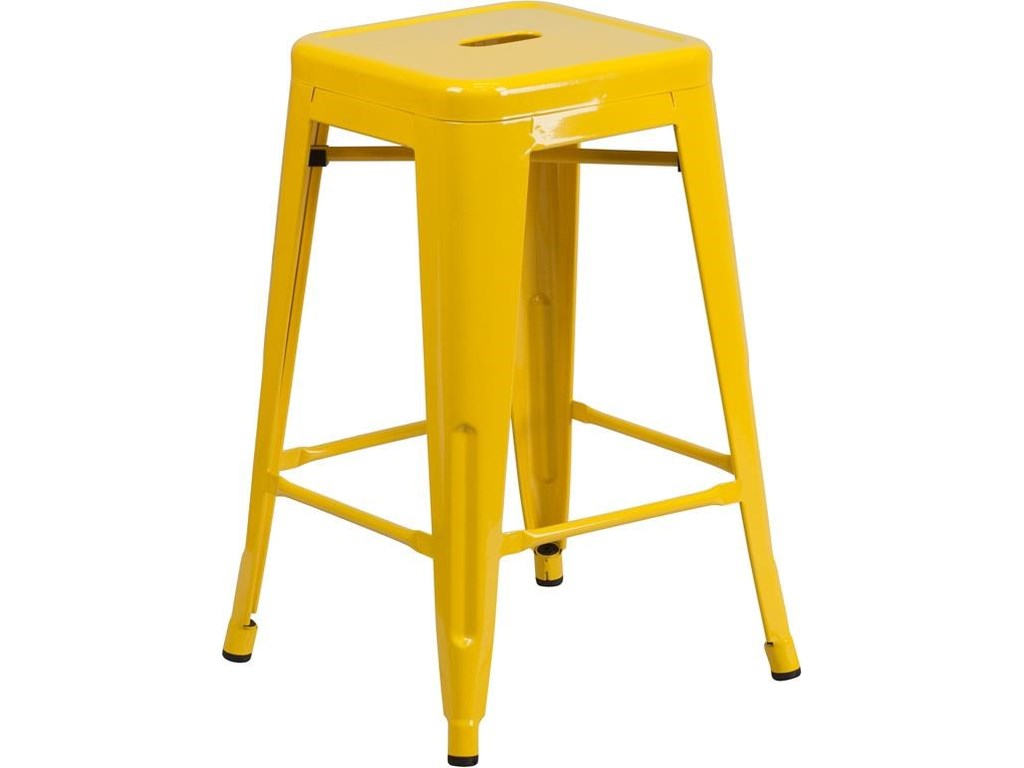 Winslow Home Metal Indoor-Outdoor Chairs24'' High Backless Yellow Metal Indoor-Outdo