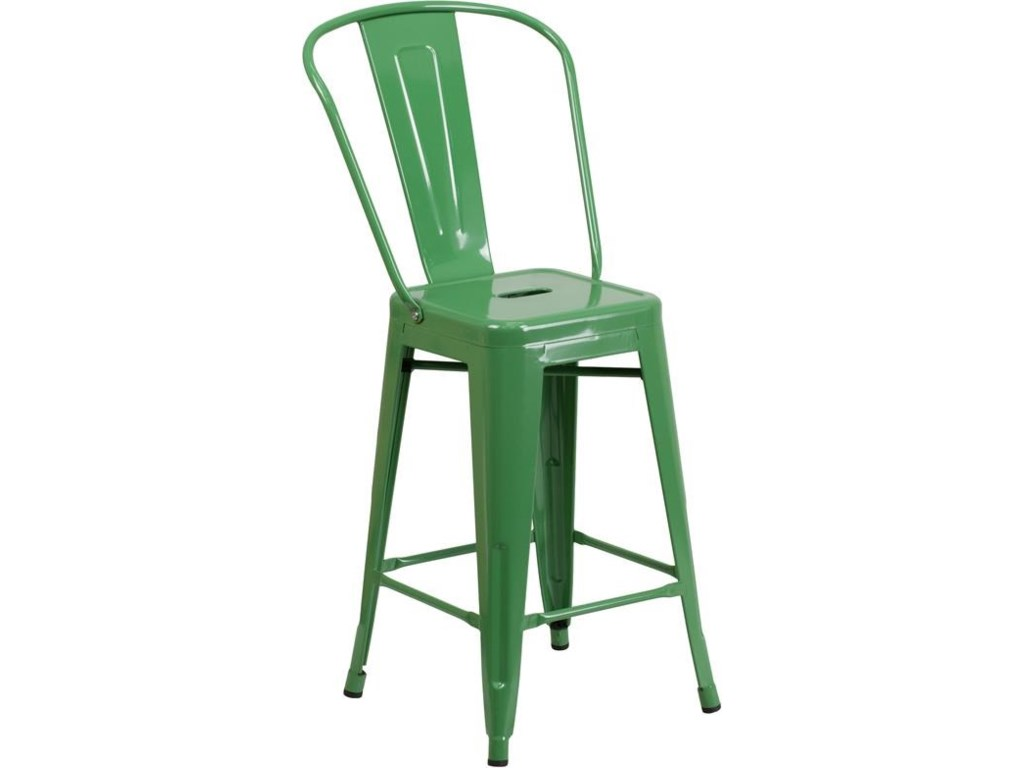 Winslow Home Metal Indoor-Outdoor Chairs24'' High Green Metal Indoor-Outdoor Counter