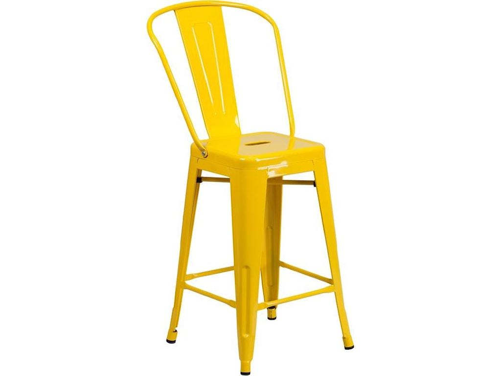Winslow Home Metal Indoor-Outdoor Chairs24'' High Yellow Metal Indoor-Outdoor Counte