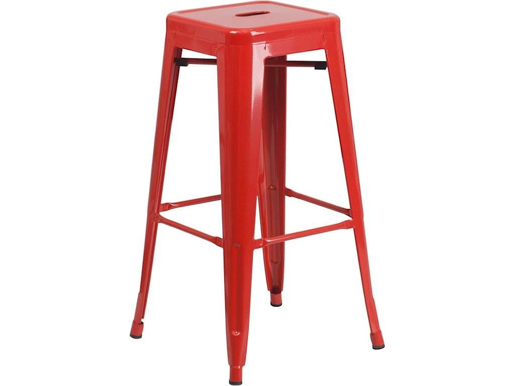 Winslow Home Metal Indoor-Outdoor Chairs30'' High Backless Red Metal Indoor-Outdoor
