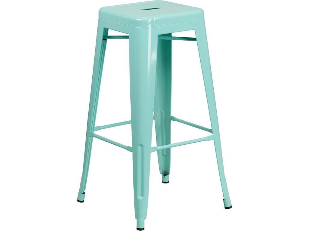 Winslow Home Metal Indoor-Outdoor Chairs30'' High Backless Mint Green Indoor-Outdoor