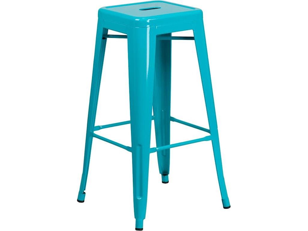 Winslow Home Metal Indoor-Outdoor Chairs30'' High Backless Teal Indoor-Outdoor Barst