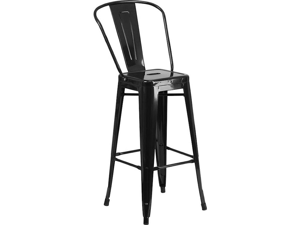 Winslow Home Metal Indoor-Outdoor Chairs30'' High Black Metal Indoor-Outdoor Barstoo