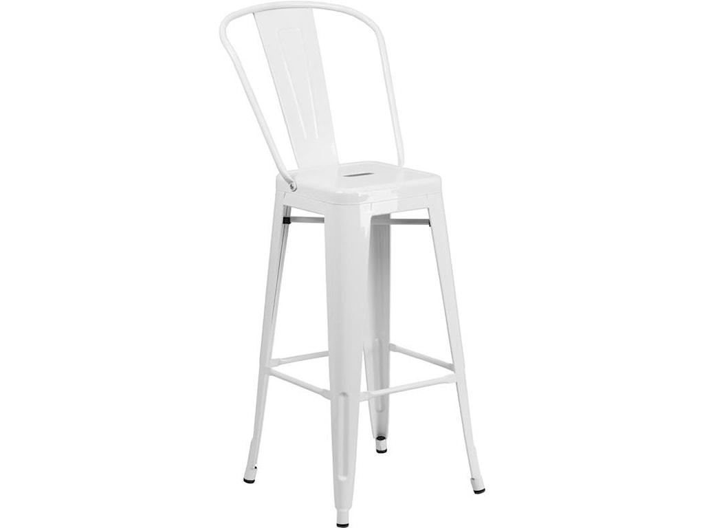 Winslow Home Metal Indoor-Outdoor Chairs30'' High White Metal Indoor-Outdoor Barstoo