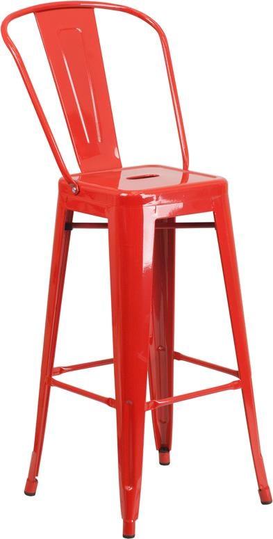 Image of: Winslow Home Metal Indoor Outdoor Chairs Win 1363 30 High Red Metal Indoor Outdoor Barstool With Back Sam Levitz Furniture Bar Stools