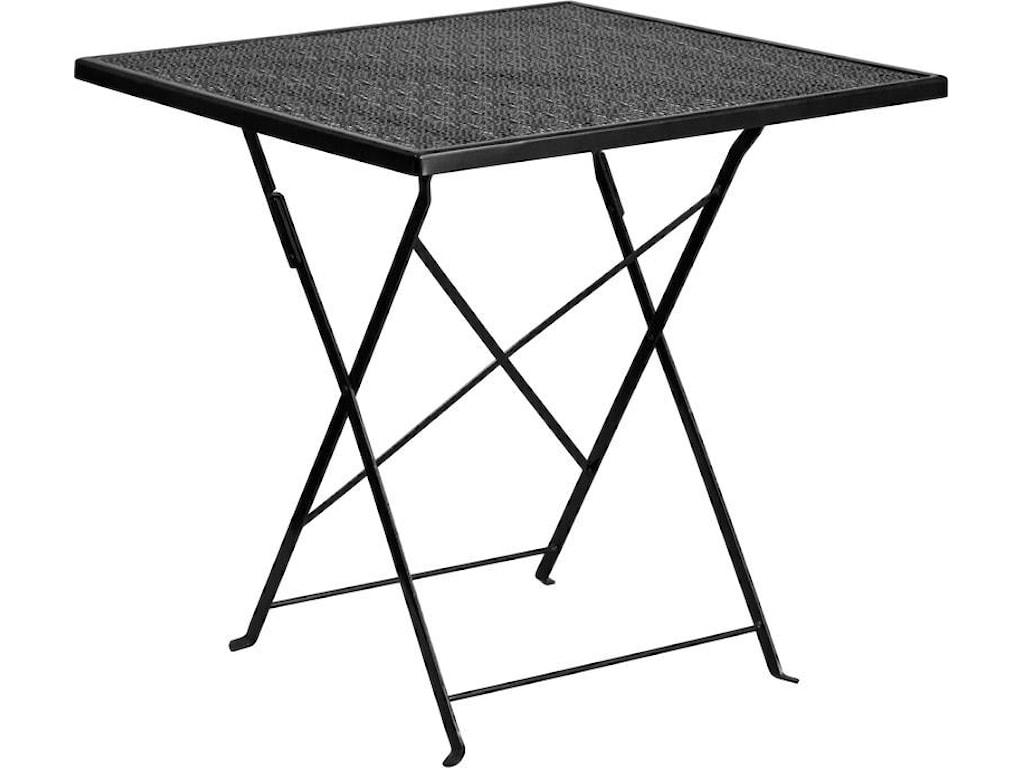 Winslow Home Metal Indoor-Outdoor Tables28'' Square Black Indoor-Outdoor Steel Foldi