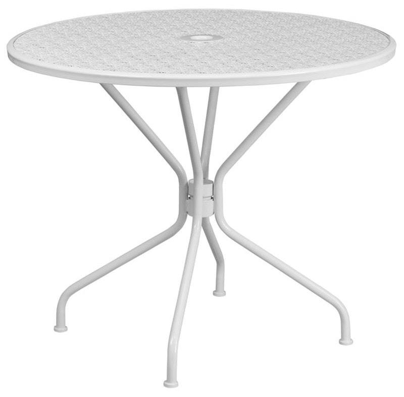 Winslow home metal indoor outdoor tables 35 25 round white indoor outdoor steel patio table
