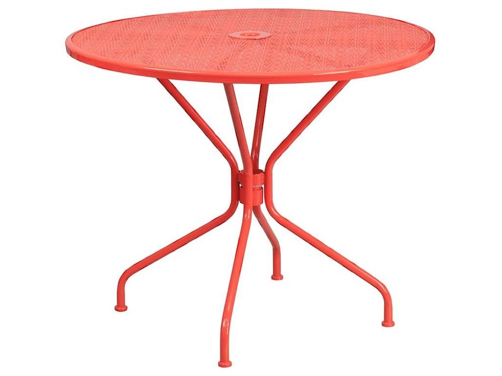 Winslow Home Metal Indoor-Outdoor Tables35.25'' Round Coral Indoor-Outdoor Steel Pat