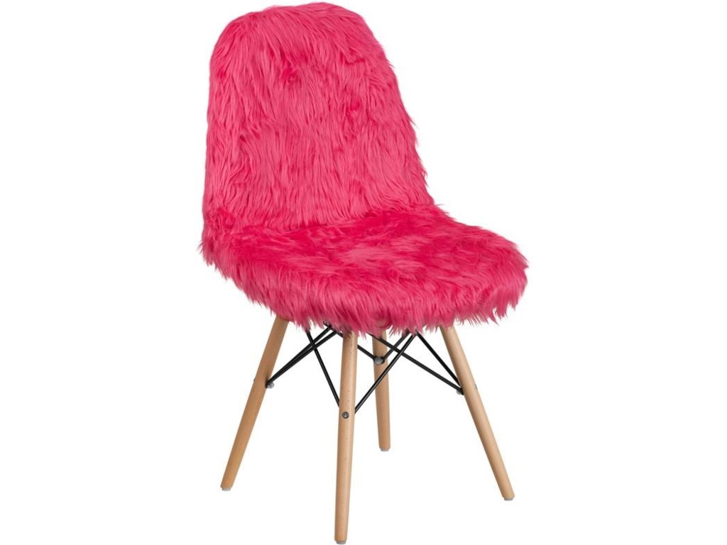 Winslow Home Shaggy DogHot Pink Faux Fur Accent Chair