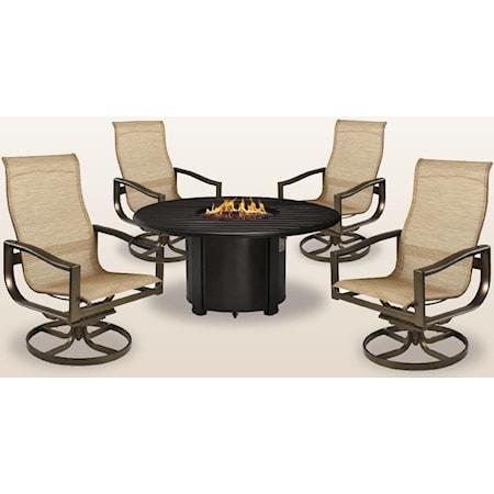 44 inch Firepit, 4 Swivel Tilt Chat Chairs