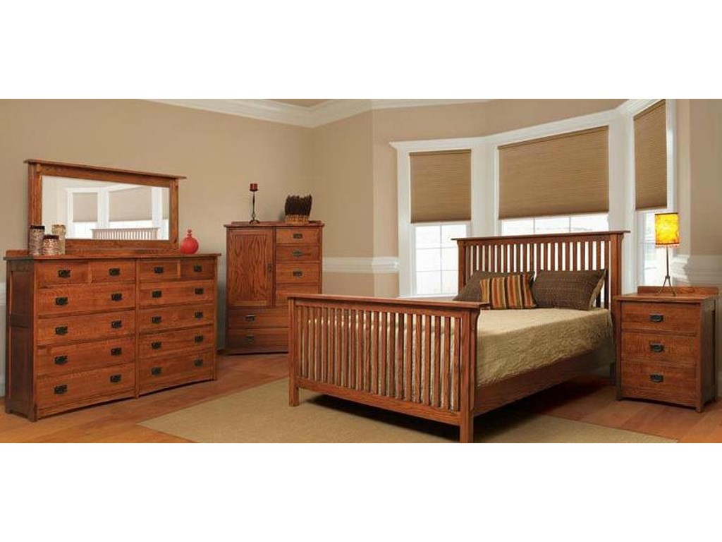 American Mission Four Piece Queen Bedroom Set by Witmer Furniture at Dunk &  Bright Furniture