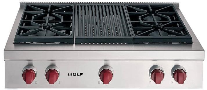 4 Sealed, Dual Stacked Burners and Charbroiler