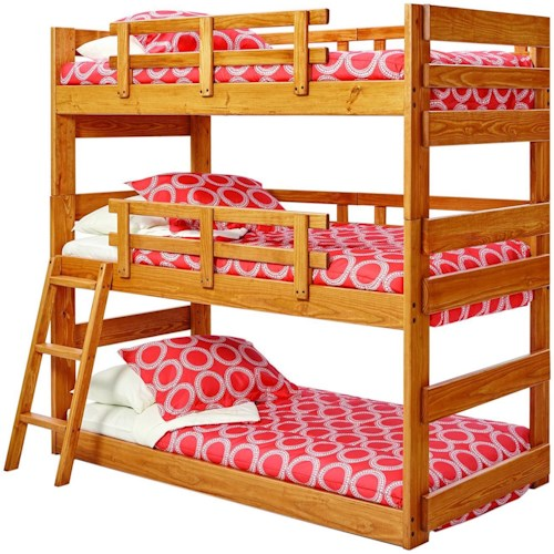Woodcrest Twin/Twin/Twin bunk bed Pine