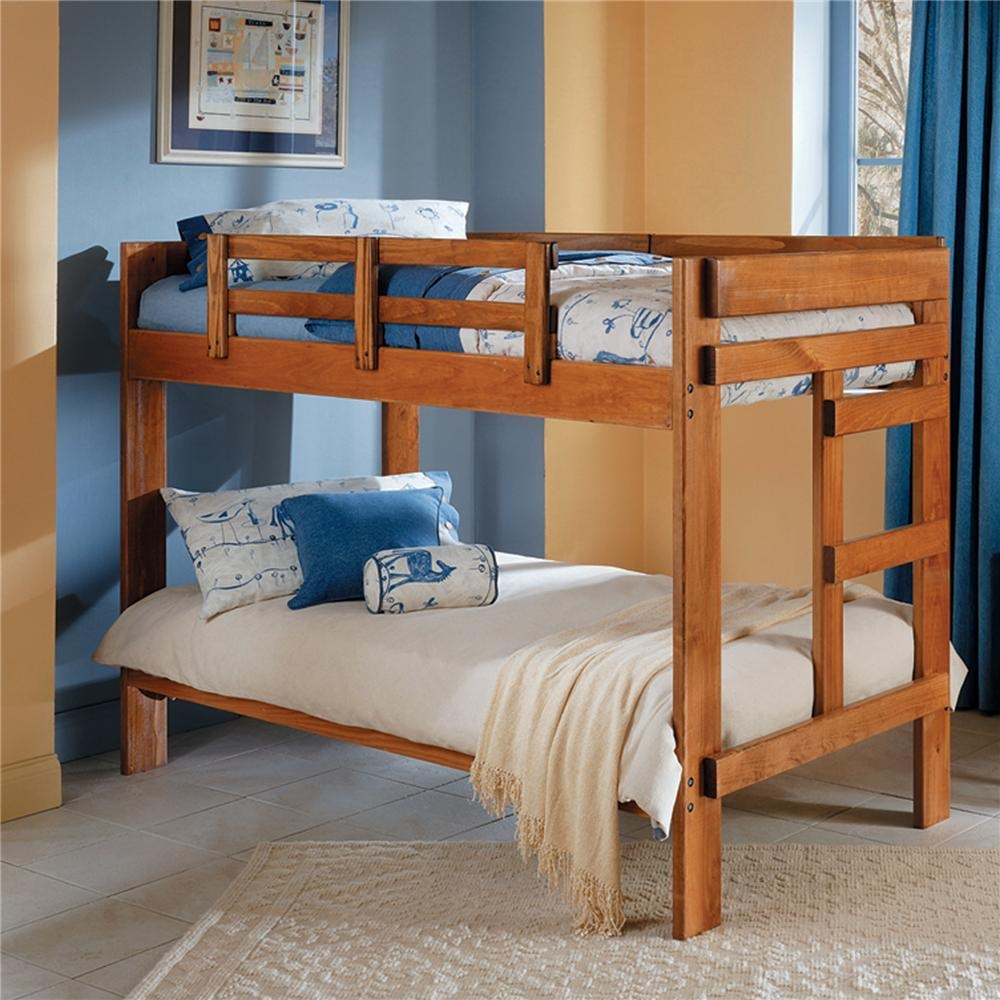 woodcrest heartland br 2 x 6 wooden twin size bunk bed - lindy's