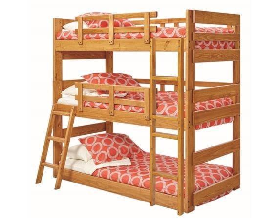 Woodcrest Heartland Br Twin Triple Bunk Bed Westrich Furniture