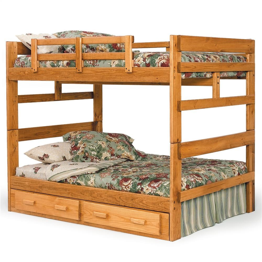 Woodcrest Heartland Br 2654 Rustic Full Full Bunk Bed With Center