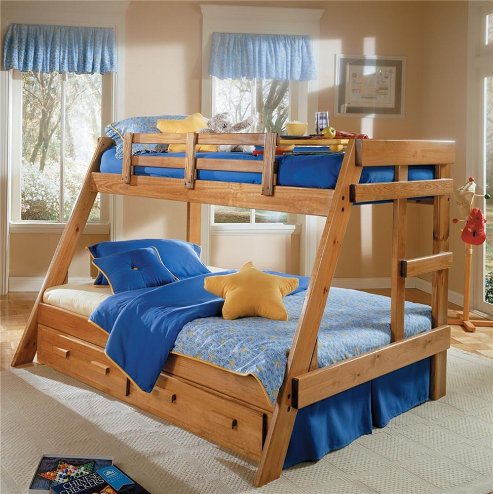 woodcrest heartland br twin/full size bunk bed with storage