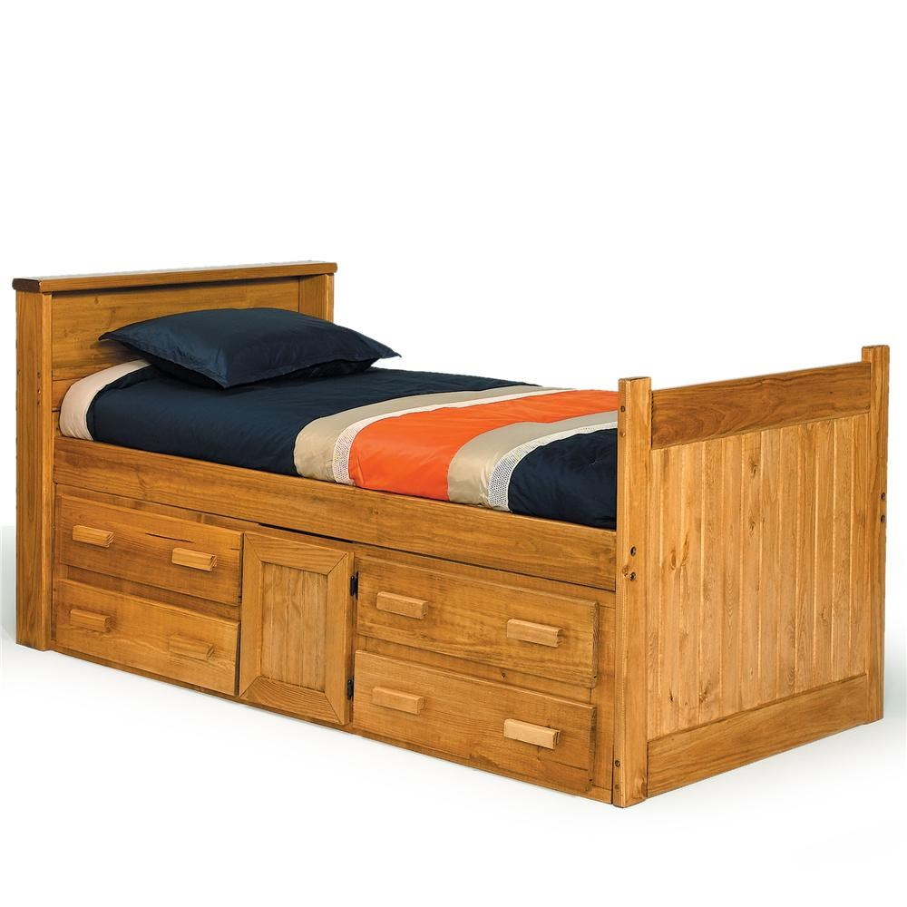 Woodcrest Heartland BR Full Captainu0027s Bed With Drawer Storage