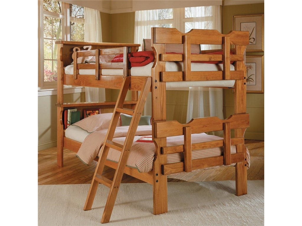 Woodcrest Heartland Br Bk1500 Scalloped Bunk Bed With Bookshelf