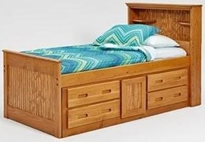 Woodcrest Heartland BR Full Captain's Bed with Drawer Storage
