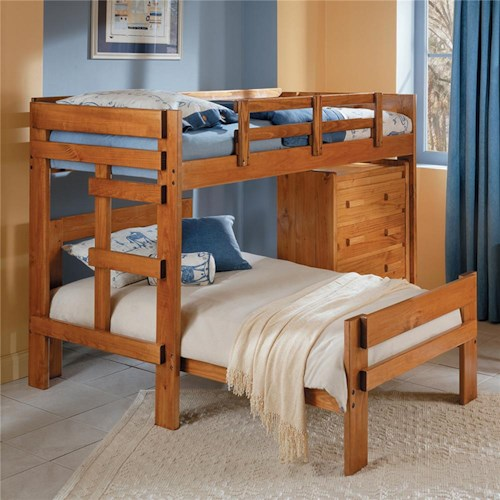 Woodcrest Heartland BR L-Shaped Loft Twin over Full Bunk Bed with