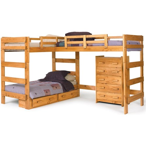 Woodcrest Heartland Br Traditional Loft Bed With Under Bed Drawer