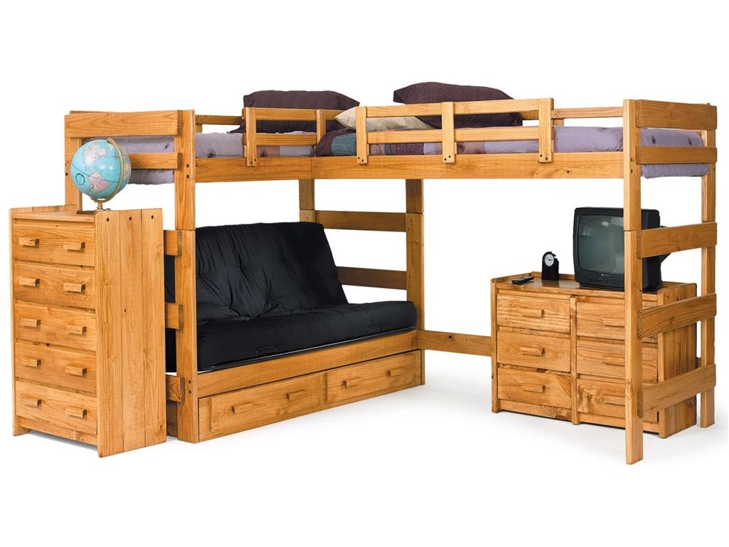 Woodcrest Heartland Br Casual Style L Shaped Loft Bed With Built In